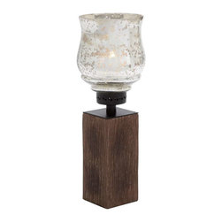 """Benzara - Candle Holder with Durable Wood and Metal Glass Detailing - Candle Holder with Durable Wood and Metal Glass Detailing. Featuring a distinctive design, this wood metal Glass candle holder makes a perfect choice of accessory for enhancing the aesthetics of all kinds of settings. It comes with a dimension of 7""""W x 7""""D x 19""""H. Some assembly may be required."""