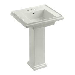 "KOHLER - KOHLER K-2844-4-NY Tresham 24"" Pedestal Lavatory w/ 4"" Centerset Faucet Drilling - KOHLER K-2844-4-NY Tresham 24"" pedestal lavatory with 4"" centerset faucet drilling in Dune"