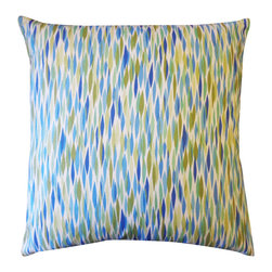 JITI - Large Panema Blue PIllow - 20x20 Panema Blue Pillow. 100% Cotton. Invisible Zipper. Dry Clean Only. Insert is 95% feathers and 5% down