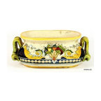 Artistica - Hand Made in Italy - FLORENTINE: Oval jardiniere cachepot - FLORENTINE Collection: Royal elegance sparkles from these original hand-painted majolica items from our new Florentine collection.