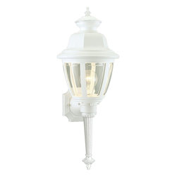 Progress Lighting - Progress Lighting Non-Metallic Incandescent Transitional Outdoor Wall Sconce X-0 - This Progress Lighting outdoor wall sconce features a torch style design that adds flair and interest to any outdoor space. From the Non-Metallic Collection, the traditional lantern shape has been finished in a crisp White hue that adds a subtle updated flair. Beautiful clear beveled acrylic panels complete the look.
