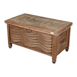 Sierra Living Concepts - Rustic Reclaimed Wood 3D Wave Storage Trunk Chest - We mixed authentic old wood with an innovative 3D design and created a Fusion Wave Storage Trunk Chest. This multi-use chest can be used as a coffee table, window bench, or bedside table.