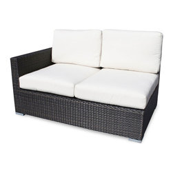 None - Lucaya Outdoor Left Arm Outdoor Love Seat - This beautiful love seat features an arm on the left side when facing the piece. This love seat features an espresso weave and removable cushion covers.