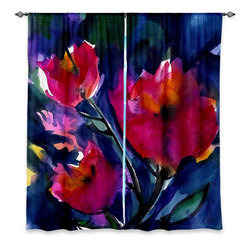 "DiaNoche Designs - Window Curtains Lined - Kathy Stanion Floral Dreams - Purchasing window curtains just got easier and better! Create a designer look to any of your living spaces with our decorative and unique ""Lined Window Curtains."" Perfect for the living room, dining room or bedroom, these artistic curtains are an easy and inexpensive way to add color and style when decorating your home.  This is a woven poly material that filters outside light and creates a privacy barrier.  Each package includes two easy-to-hang, 3 inch diameter pole-pocket curtain panels.  The width listed is the total measurement of the two panels.  Curtain rod sold separately. Easy care, machine wash cold, tumbles dry low, iron low if needed.  Made in USA and Imported."