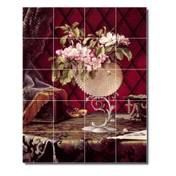 Picture-Tiles, LLC - Still Life With Apple Blossoms In A Nautilus Shell Tile Mural By Marti - * MURAL SIZE: 60x48 inch tile mural using (20) 12x12 ceramic tiles-satin finish.