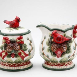 CG - Elegant Evergreen Holiday with Red Cardinal Sugar and Creamer Set - This gorgeous Elegant Evergreen Holiday with Red Cardinal Sugar and Creamer Set has the finest details and highest quality you will find anywhere! Elegant Evergreen Holiday with Red Cardinal Sugar and Creamer Set is truly remarkable.