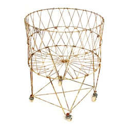 Vintage French Wire Laundry Basket - Vintage french wire laundry basket made of zinc with casters on each leg. Great vintage shabby look in great condition given age and use.