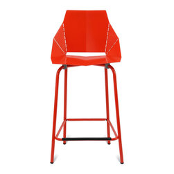 Blu Dot - Blu Dot Real Good Counterstool, Red - Thin is in. Powder-coated steel ships flat and folds along laser-cut lines to create a dynamic and comfortable chair. As skinny as a supermodel yet far more sturdy. Available in aqua, ivory and white with gray legs or two glossy tone-on tone colors: satin black or humble red. Also available in copper.
