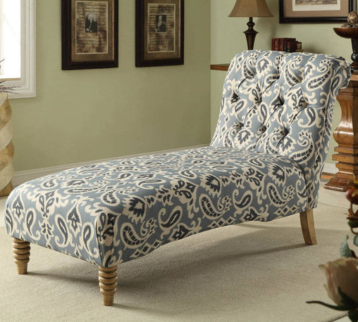 Armen Living - Tufted Chaise in Blue iKat Fabric - Sink into style with the inviting allure of this tufted chaise. Highlighted by sumptuous iKat fabric upholstery and tufted detail, this handsome chaise is perfect for curling up with a mug of coffee and your latest read.