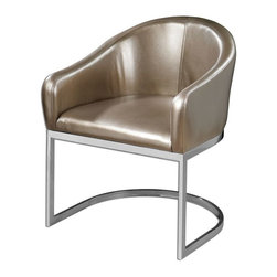 Uttermost - Marah Modern Accent Chair - Modern barrel-style accent chair in metallic, champagne faux leather and polished chrome base.