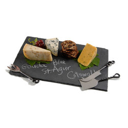 Rectangular Slate Board - A slate cheese board would be the perfect way to display different kinds of cheeses. Go to your local cheese shop or grocery store and inquire about multiple cheeses from places around the world, then write the names on the cheese plate.