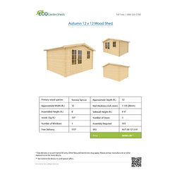 Autumn 12 x 12 Wood Shed - ECO Garden Sheds. All natural wood 12 x 12 Traditional wooden garden house / storage shed -- Autumn. 12 x 12 Wood Shed Brochure.