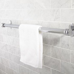 """Covington Towel Bar, 24"""", Chrome finish - We designed our Covington Collection in the style of antique fittings found on turn-of-the-century trains. Each piece is crafted of naturally strong and rust-resistant solid brass. 18"""" or 24"""" long Cast of brass and stainless steel thickly plated for strength. Hand-applied finish. View our {{link path='pages/popups/fb-bath.html' class='popup' width='480' height='300'}}Furniture Brochure{{/link}}."""