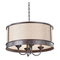 Murray Feiss - Grecian Bronze Live, Laugh, Love 4 Light 1 Tier Chandelier with 36 Chain - Lamping Technologies: