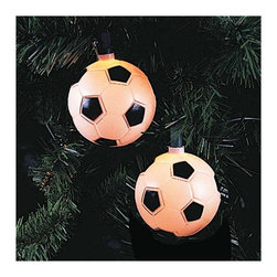"""Lamps Plus - Kids Ten Soccer Ball Party String Lights - Add a little fun to your indoor or outdoor spaces with this set of ten string lights featuring little soccer balls. Perfect for entertaining or as an eye-catching accent in bedrooms and more these lights add personality and cheer. Includes four spare bulbs and green wire. Soccer ball string lights. 10-light string. For indoor and outdoor use. Includes ten 12v .08A clear incandescent bulbs. Includes 4 spare bulbs and 1 fuse. Includes 30"""" of green lead wire. 12"""" of spacing between lights.   Soccer ball string lights.  10-light string.  For indoor and outdoor use.  Includes ten 12v .08A clear incandescent bulbs.  Includes 4 spare bulbs and 1 fuse.  Includes 30"""" of green lead wire.  12"""" of spacing between lights."""