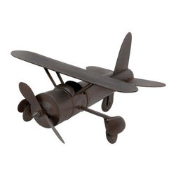 Brown Metal Airplane Sculpture - 18W x 9H in. - You can practically hear the ol' propeller grinding away when you glance at the Brown Metal Airplane Sculpture - 18W x 9H in. Capturing all the glory of the early days of flight, this vintage-inspired airplane sculpture makes a great gift for anyone with a love for flight. The high-quality metal is finished in a glossy chocolate brown, making it an easy match for practically any room.