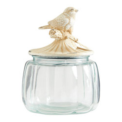 Glass Jar with Distressed White Metal Bird Lid - FREE SHIPPING !!!!