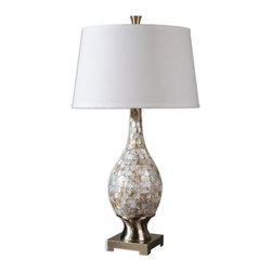 Uttermost - Uttermost 26491  Madre Mosaic Tile Lamp - Mosaic tiles of mother of pearl accented with brushed aluminum accents. the round, slightly tapered hardback shade is a white linen fabric.