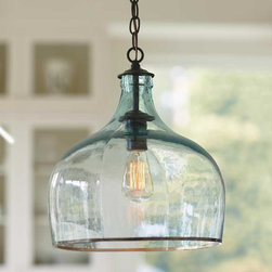 """Viva Terra - Recycled Glass Globe Light - The ingenious design of our globe light, recycled from antique Frenchwine balloon bottles, or balons, adds farmhouse flair to your home. Made in Romania. 100W maximum. 14""""DIAM x 15""""H, 6' CHAIN"""