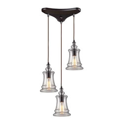 Elk Lighting - Elk Lighting 60042-3 Menlow Park Transitional Multi Light Mini Pendant Light - Elk Lighting 60042-3 Menlow Park Transitional Multi Light Mini Pendant Light in Oiled Bronze