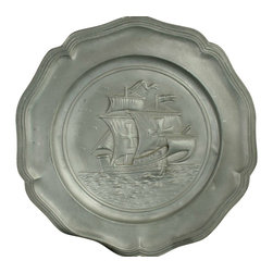 EuroLux Home - Consigned Vintage French Pewter Plate Charger Sailing - Product Details