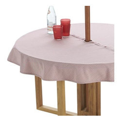 "Red Ticking Stripe 60"" Round Umbrella Tablecloth - Fresh ticking stripe in red adds a classic, summery look to the outdoor table.  No need to remove the umbrella, our specially designed tablecloth wraps around the pole, snapping into place."