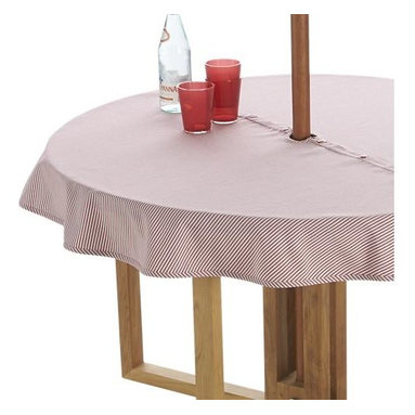 """Red Ticking Stripe 60"""" Round Umbrella Tablecloth - Fresh ticking stripe in red adds a classic, summery look to the outdoor table.  No need to remove the umbrella, our specially designed tablecloth wraps around the pole, snapping into place."""