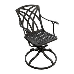 Versailles Swivel Cast Aluminum Rocking Chair - Great as a standalone chair or paired with others from the Versailles Collection, this swivel rocking chair is the ultimate in comfort. With rocking and swivel features, this patio chair is versatile and can be used with a dining table or for a seating only area.