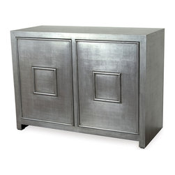 Kathy Kuo Home - Park Avenue Hollywood Regency Style Silver Leaf Cabinet - The interior design world is going gaga over Hollywood Regency style, and you will too. It's a design aesthetic that blends just as beautifully with modern pieces as it does with those that exude a vintage flair. This burnished silver leaf cabinet brings the glamorous look of a movie set into your home, with plenty of space behind its raised panel doors for storage.