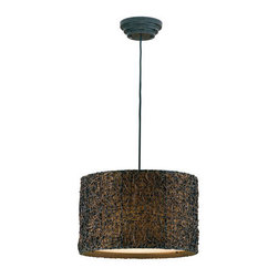 Uttermost - Uttermost 21103 Knotted Rattan 3 Light Hanging Shade Pendant from the Naturals C - Uttermost 21103 Carolyn Kinder Knotted Rattan Hanging ShadeHand rubbed Espresso finish.Features: