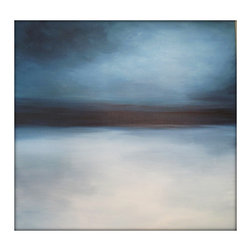 Large Abstract Painting on Canvas Modern Acrylic Skyline- 36x36- Grays, Blues, W - Minimalist Abstract Sky Line Landscape Original Painting - Blues, Whites, Greens