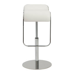 Eurostyle - Freddy Adjustable Bar/Counter Stool-Wht - Sometimes you need a little hug while sitting at a bar. This streamlined stool sports a comfortable seating area, which extends down to hug the backs of your knees. The beautifully curved footrest provides the added support.