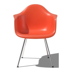 Herman Miller - Eames Molded Plastic Armchair - 4 Leg Base by Herman Miller - Originally designed in 1950, the Eames® Molded Plastic Armchair - 4 Leg Base by Herman Miller® was the first industrially manufactured plastic chair. The form of the molded polypropylene seat is both clean and comfortable, and is available in a rainbow of fashionable colors. The four metal legs have swiveling glides that keep the chair steady on uneven floors. Since its early beginnings in 1905 (then known as the Star Furniture Company), Herman Miller has stood as one of the leaders in ergonomic furniture design and manufacture. Today, with a strong focus on designing furnishings with excellent form and function, this Michigan-based company produces a variety of home and office products that improve the human experience wherever people work, create, learn and live.