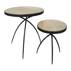 Studio A - Tripod Table w/ Onyx Top - Large - Hand forged iron base with polished onyx inset. Available in two sizes. Each size sold separately.