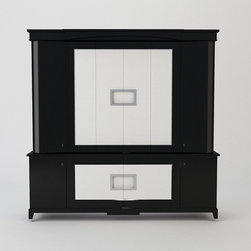 Entertainment Cabinet - The photo real rendering of this entertainment cabinet was created by Furniture Design Link. It is shown with high gloss black lacquer with white shagreen embossed leather inset panels. The upper section has bi-fold pocket doors that open to reveal the TV. The outer doors are curved, the lower cabinet has 2 center doors and 2 touch latch outer doors, the cabinet is raised on tapering feet. This cabinet was designed by Jonathan Franc and can be ordered through their showroom. Rendering used with consent.