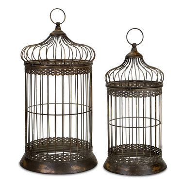 iMax - Byzantine Dome Bird Cages, Set of 2 - Antique gold Byzantine dome birdcages with hinged doors, set of two.