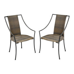 Home Styles - Home Styles Laguana Dining Chair in Black and Taupe (Set of 2) - Home Styles - Patio Dining Chairs - 5600802 - The Laguna Arm Chair features a two-tone Walnut Brown synthetic-weave seat and back over an aluminum frame in a Black finish with tie-attachment Taupe cushions.  The synthetic-weave is both moisture and weather resistant and requires very little maintenance.  Adjustable nylon glides prevent damage to surfaces caused by movement and provide stability on uneven surfaces. All Homes Styles outdoor casual dining chairs are sold two per pack and are designed to stack for easy storage.