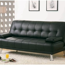 Elowen Black Leather Convertible Sofa - Ideal for apartments or condos the Elowen Black Leather Look Click Clack Futon helps you make the most of small spaces. Featuring a click clack mechanism this smart sofa can be converted into a bed by simply dropping the back cushion. It's designed for comfort with removable armrests padded backrest and deep seat cushioning. Additionally the hardwood frame provides strength and stability. Upholstered in leather polyurethane the futon is easy to maintain and durable. A tufted pattern and silver-toned legs add to its visual appeal.