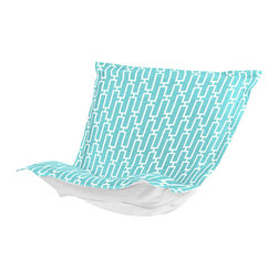 Howard Elliott - Bahama Breeze Puff Chair Cushion Cover - Change of Scenery! Take your favorite chair outside by updating with a Bahamas Patio Puff Slipcover. Its special fabric cover and insert has been specially designed to withstand the elements. Fill your yard with the colors of summer with the fun, bright color selection of the Bahamas Patio Puff Slipcover. This Bahama Breeze piece is 30% polyester 70% polypropylene finished in blue with a bright chain link outdoor pattern. 40 in. W x 49 in. L x 7 in.