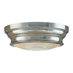 "Hudson Valley - Country - Cottage Woodstock Polished Nickel Finish 13"" Wide Ceiling Light - Update your decor with this beautiful polished nickel finish ceiling light from the Woodstock Collection. The flushmount design features a glass diffuser for even light distribution. Polished nickel finish. Takes two 60 watt bulbs (not included). 13"" wide. 4 1/2"" high.  Polished nickel finish.   Takes two 60 watt bulbs (not included).   13"" wide.   4 1/2"" high."