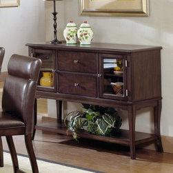 Hillsdale Nottingham Server - With an urban sophisticated look the Hillsdale Nottingham Server makes a beautiful accent for almost any modern decor. It has a luxurious dark oak finish glass doors and graceful curved legs to complete its look. Two cabinets two drawers and a lower shelf provide plenty of storage space. Use this server on its own or pair it with the Nottingham dining set (sold separately) to give your dining room an instant upscale makeover. About Hillsdale FurnitureLocated in Louisville Ky. Hillsdale Furniture is a leader in top-quality affordable bedroom furniture. Since 1994 Hillsdale has combined the talents of nationally recognized designers and globally accredited factories to bring you furniture styling and design from around the globe. Hillsdale combines the best in finishes materials and designs to bring both beauty and value with every piece. The combination of top-quality metal wood stone and leather has given Hillsdale the reputation for leading-edge styling and concepts.