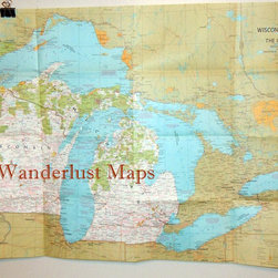 1973 Map of Wisconsin, Michigan and the Great Lakes by Wanderlust Maps - You can always find beautiful, watery blues in vintage nautical maps. They're perfect for a lake cabin, or anywhere really.