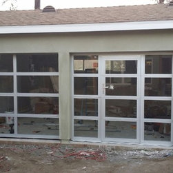 Anodized Aluminum Amp Clear Tempered Glass Garage Doors
