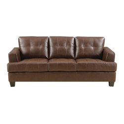 "Coaster - Samuel Sofa, Dark Brown - The Samuel collection offers style and comfort with its clean lines and attached seat cushions. This collection also features premium 2mm full bonded leather. The only way to truly appreciate this collection is to sit and experience it. Our Samuel sectionals are also available in cream and dark brown full bonded leather.; Contemporary Style; Finish/Color: Dark Brown; Upholstery: 100% Bonded Leather; Dimensions: 85""L x 38""W x 36""H"