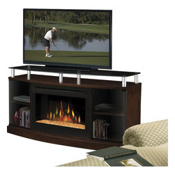 "Dimplex - Dimplex Windham Flatpanel TV Stand and Electric Fireplace in Mocha-Logs - Dimplex - TV Stands - DFP25MA1015 - Elevated above a bowed cabinet the sturdy smoked-glass top creates a sleek display space for the latest wide-screen TVs. A rich mocha cabinet with smoked-glass doors provides ample room for storing equipment DVDs and other essentials.Contemporary styling with smoked glass convex doors that conceal two storage areas. Includes 25"""" Landscape firebox.Features:"