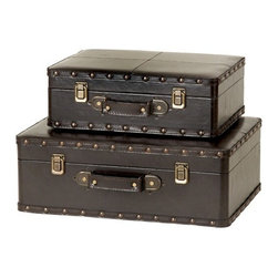 "Benzara - Leather N Wood Box Set of 2 - Leather N wood Box Set of 2. Trunk Boxes are made in wood and faux leather. This is Set of 2 boxes, large box is 17""W x 10""H x 13""D and small box is 14"" x 8""H x 8""D. These boxes can be used for accent pieces or Treasure Chest in Kitchen, Living rooms or bedrooms. Most competitive Price."
