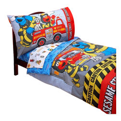 Crown Crafts Infant Products - Sesame Street Toddler Bedding Set Elmo Fire Department Bed - Features: