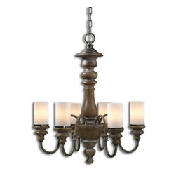 Uttermost - Uttermost 21251  Torreano 6 Light Wooden Chandelier - Heavily distressed solid wood turnings finished in an aged pecan stain with burnished taupe arms and glass faux candles.