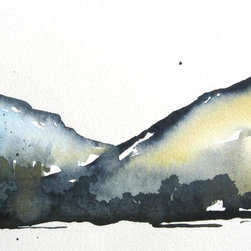 "River Gorge - Original Watercolor Painting - Another painting-a-day series of small watercolors using loose watercolor washes for an impressionist style. A fun way to bust loose and explore with watercolors that are different from my usual approach. 11"" x 7"" image size, matted and ready to frame."