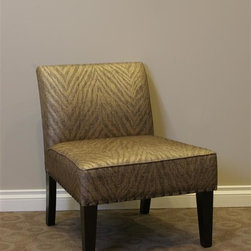 4D Concepts - Belinda Accent Chair in Metallic Woven Linen - Beautifully crafted upholstered accent chair. Classic look with a subtle flair. Large curved back and oversized seat is perfect for any den, living room, or entry way in the home. Upholstered in a metallic animal print. Single row of decorative antique brass nail heads accenting the edge of the chair. Will fit perfectly in the home and will give any room an added distinctive touch. Thick solid wood legs are in a rich espresso finish. Constructed of wood and fabric. Clean with a dry non abrasive cloth. Minimal assembly required26 in. L x 19.5 in. W x 38.5 in. H (24 lbs.)
